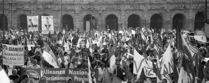 Una manifestazione di alleanza nazionale a roma
